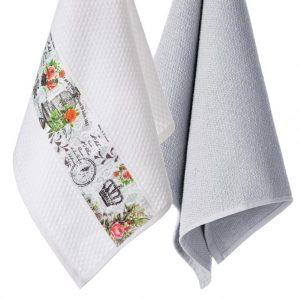 Komplet ozdobnych ścierek kuchennych 2szt bawełniane 45x70 Retro