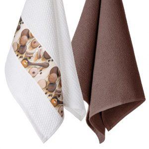 Komplet ozdobnych ścierek do kuchni 2szt bawełniane 45x70 brązowe