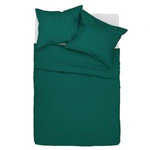 Pościel 140x200 bawełniana ciemno zielona w jednolitym kolorze gładka