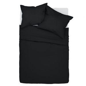 Pościel czarna 140x200 bawełniana w jednolitym kolorze