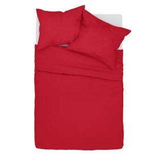 Pościel 140x200 bawełniana czerwona w jednolitym kolorze