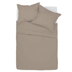 Pościel 140x200 bawełniana beżowa w jednolitym kolorze cappucino