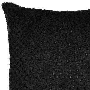 POSZEWKA czarna pluszowa mikrofibra ozdobna 40x40 miękka