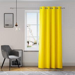Zasłona żółta z szarfą do wiązania 140x250 gotowa gładka na przelotkach