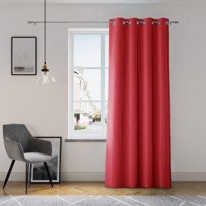 Zasłona czerwona z szarfą do wiązania 140x250 gładka na przelotkach