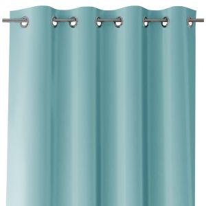 Zasłona niebieska z szarfą do wiązania 140x250 gładka na przelotkach