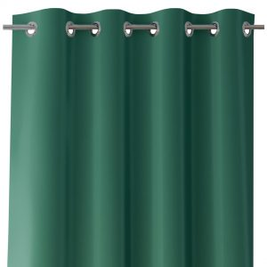 Zasłona ciemna zieleń z szarfą do wiązania 140x250 gładka na przelotkach