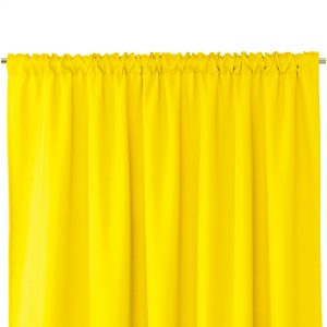 Gotowa zasłona żółta z taśmą marszczącą i szarfą do zasłony 140x250 gładka