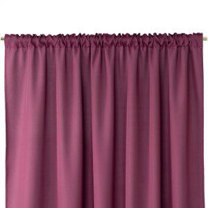 Gotowa zasłona burgund z matowej tkaniny na taśmie z szarfą 140x250 gładka
