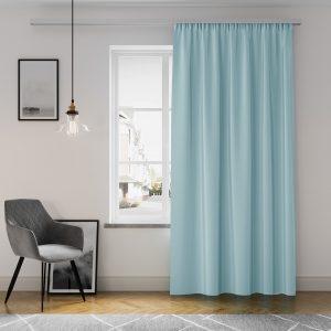 Gotowa zasłona niebieska z matowej tkaniny na taśmie z szarfą 140x250 gładka