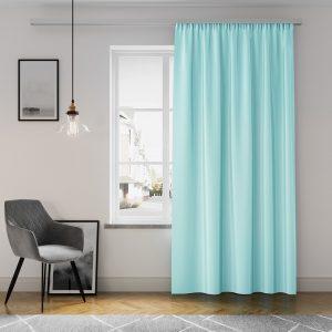 Gotowa zasłona błękitna z matowej tkaniny na taśmie z szarfą 140x250 gładka