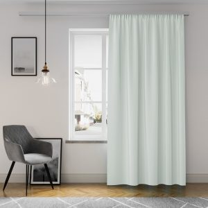 Zasłona gotowa jasno szara z matowej tkaniny na taśmie z szarfą 140x250
