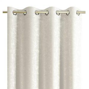 Zasłona biała srebrna z liśćmi miłorzębu srebrne wzory 140X250
