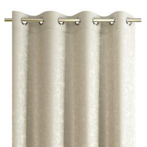 Zasłona kremowa srebrna z liśćmi miłorzębu srebrne wzory 140X250
