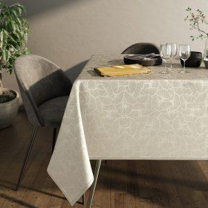 Obrus kremowy ze srebrnym nadrukiem elegancki Glamour 110x160