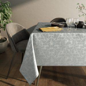 Obrus szary zdobiony srebrnym nadrukiem elegancki Glamour 110x160