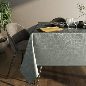 Obrus grafitowy zdobiony srebrnym nadrukiem elegancki Glamour 110x160