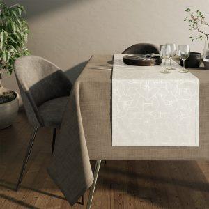 Bieżnik biały srebrny elegancki Glamour liście miłorzębu 40x140