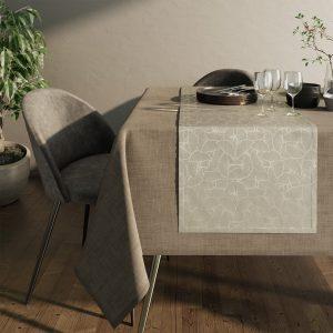 Bieżnik kremowy elegancki Glamour srebrne liście miłorzębu 40x140