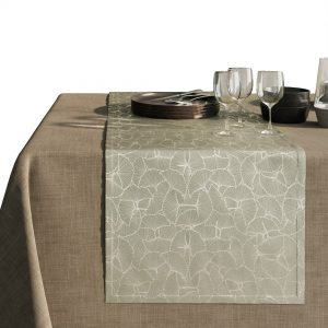 Bieżnik beżowy elegancki Glamour srebrne liście miłorzębu 40x140