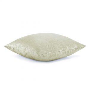 Poszewka kremowa srebrne liście miłorzębu 45x45 dekoracyjna