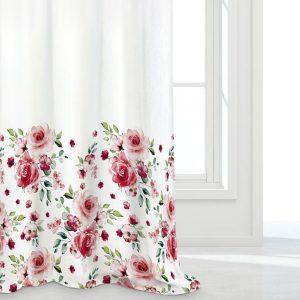 Firana z nadrukiem na dole czerwona biała w róże na taśmie 140x250