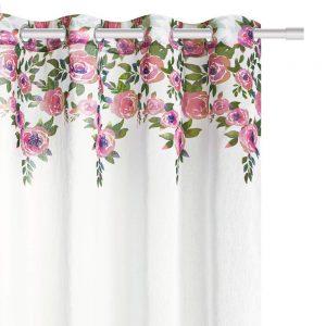 Firana z kwiatami biała pudrowy róż na przelotkach 140x250 gotowa