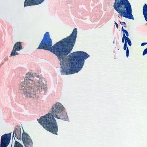 Firana z kwiatami biała na taśmie 140x250 gotowa dekoracyjna