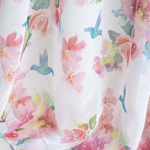 Firana z kwiatami i ptakami na taśmie 140x250 gotowa z nadrukiem