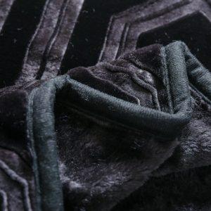 Gruby koc akrylowy pled czarny tłoczony ciepły 160x200