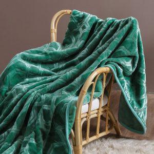 Gruby koc akrylowy zielony tłoczony ciepły 160x200 elegancki