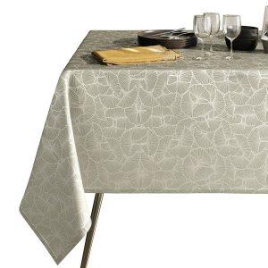 Obrus beżowy zdobiony srebrnym nadrukiem elegancki Glamour 110x160