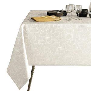 Obrus biały ze srebrnym nadrukiem elegancki Glamour 110x160