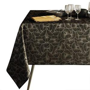 Obrus czarny zdobiony srebrnym nadrukiem elegancki Glamour 110x160