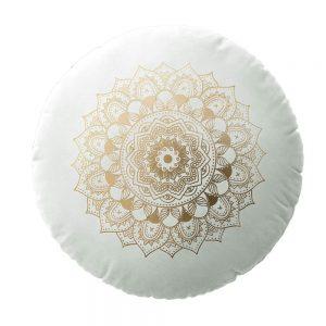 Poduszka okrągła welwetowadekoracyjna ZŁOTA MANDALA biała