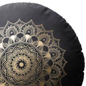 Poduszka okrągła czarna ZŁOTA MANDALA dekoracyjna welwetowa