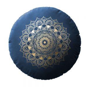 Poduszka okrągła granatowa dekoracyjna ZŁOTA MANDALA welwetowa