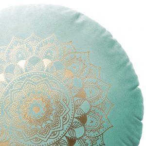 Poduszka okrągła miętowa ZŁOTA MANDALA dekoracyjna welwetowa