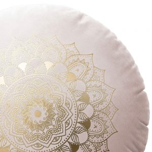 Poduszka okrągła pudrowy róż dekoracyjna ZŁOTA MANDALA welwetowa
