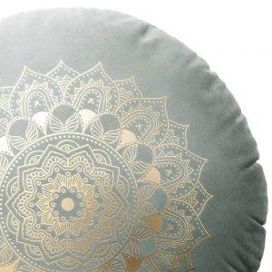 Poduszka okrągła szara ZŁOTA MANDALA dekoracyjna welwetowa