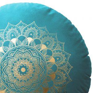 Poduszka okrągła dekoracyjna welwetowa ZŁOTA MANDALA turkusowa