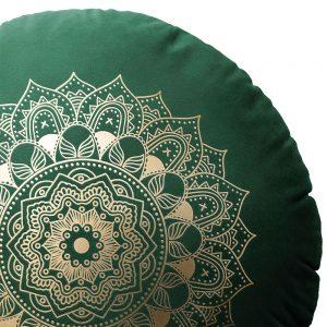 Poduszka okrągła dekoracyjna welwetowa zielona ZŁOTA MANDALA