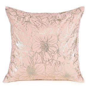 Poszewka pudrowy róż złote wzory kwiaty elegancka 40x40 ozdobna