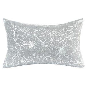 Poszewka szara srebrne wzory 30x50 kwiaty elegancka ozdobna