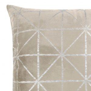 Poszewka beżowa srebrna welwetowa 45x45 geometryczna