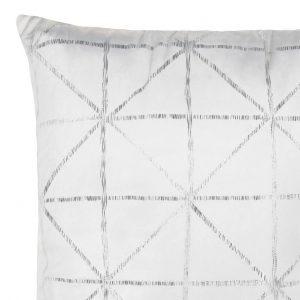 Poszewka biała srebrna welwetowa 45x45 geometryczna