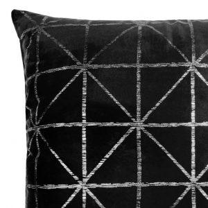 Poszewka czarna srebrna welwetowa 45x45 geometryczna