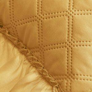 Poszewka ozdobna z falbanką żółta ciemna 45x45 pikowana musztardowa