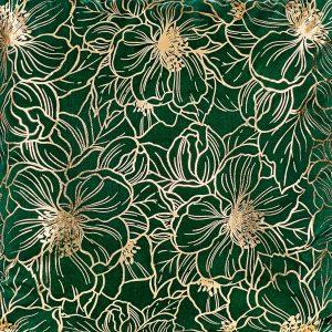 Poszewka butelkowa zieleń złote kwiaty elegancka 40x40 ozdobna
