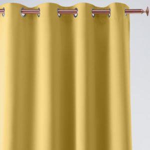Zasłona musztardowa na przelotkach 140x280 gładka pół zaciemniająca